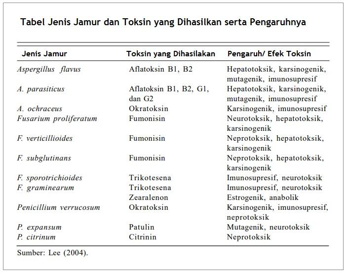 Tabel Jenis Jamur Toksin Yang Dihasilkan Dan Pengaruhnya